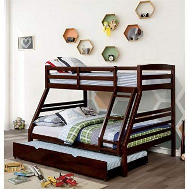 Furniture of America Freddie Twin Over Full Bunk Bed in Dark Walnut
