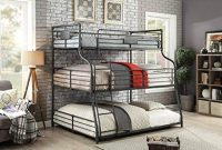 Furniture of America Maggie Black Metal Twin Full Queen Triple Bunk Bed