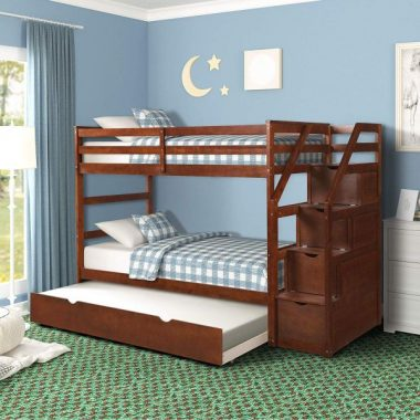Harper&Bright Designs Twin-Over-Twin Trundle Bunk Bed with Storage Drawers (Walnut)
