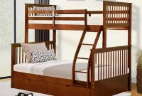 Knocbel Solid Wood Bunk Bed Twin-Over-Full for Kids with Ladders and 2 Storage Drawers (Walnut)