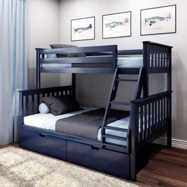Max & Lily Solid Wood Twin Over Full Bunk Bed Storage Drawers, Blue