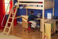 Maxtrix Kids Grand 3 Giant 3 Full High Loft Bed with Long Desk and Drawer Chest