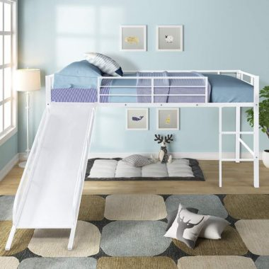 Meatl Twin Loft Bed with Slide for Kids Toddlers, WeYoung Low Sturdy Loft Bed for Boys Girls Bedroom, No Box Spring Needed (White)