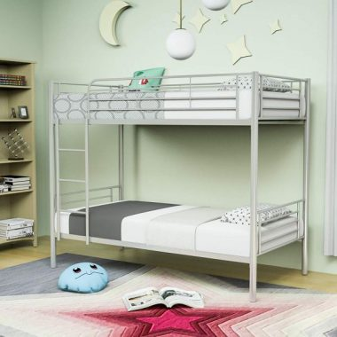 Mecor Metal Bunk Bed Twin Over Twin - with Removable Ladder and Guard Rail - Space Saving Design - Easy Assembly -Silver Grey
