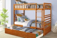 Merax Bunk Beds for Kids, Twin Over Twin Bunk Bed Solid Wood Twin Bed with Trundle and Safety Rails (Oak)