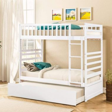 Merax Twin Over Twin Bunk Bed for Kids Bunk Beds with Trundle Solid Wood Bunk Beds (Pure White)