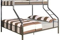 Pemberly Row Twin XL Over Queen Metal Bunk Bed in Gunmetal