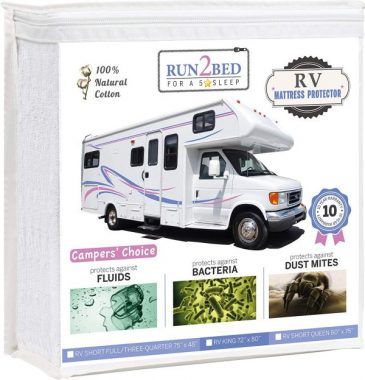 RUN2BED Luxury RV Bunk Waterproof Mattress Protector - 100% Natural Cotton Soft Cover (33 x 75)