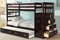 Solid Wood Bunk Bed for Kids, Hardwood Twin Over Twin Bunk Bed with Trundle and Staircase, Natural Walnut Finish by Meritline
