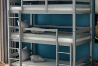 Triple Bunk Beds, Solid Wood Twin Size 3 Low Bunk Bed Frame with Built-in Ladders for Kids Toddlers (Gray-Triple)
