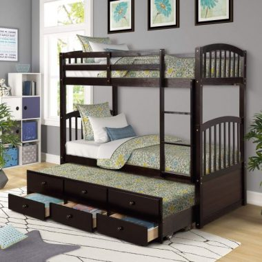 Trundle Bunk Bed, Twin-Over-Twin Trundle Bunk Bed with Ladder and Storage Drawers for Kids and Teenagers. (Espresso)