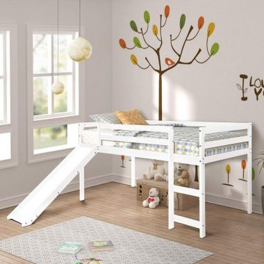 Twin Loft Bed with Slide for Kids Toddlers, Wood Low Sturdy Loft Bed, No Box Spring Needed, White