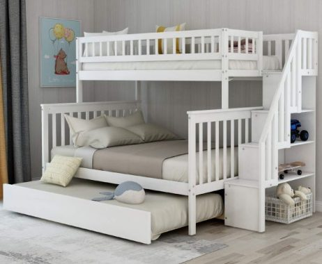 Twin-Over-Full Bunk Bed for Kids, Trundle Bed & Loft System with Storage in The Steps