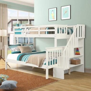 Twin Over Full Bunk Beds, Rockjame Solid Wood Bedroom Furniture Bunk Bed with Stairs, Storage and Safety Guard Rail, Convertible to Separate 2 Beds, for Boys, Girls, Kids, Teens and Adults (White)