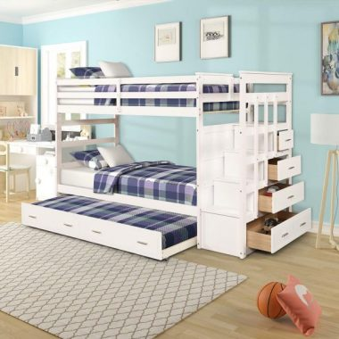 Twin Over Twin Bunk Bed for Kids, Wood Storage Twin Bunk Bed with Trundle and Drawers
