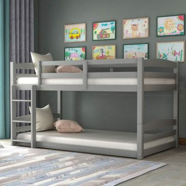 Twin Over Twin Bunk Bed with Ladder for Kids, WeYoung Wood Convertible Floor Bund Bed with Guardrails Easy to Assemble No Box Spring Required (Gray)