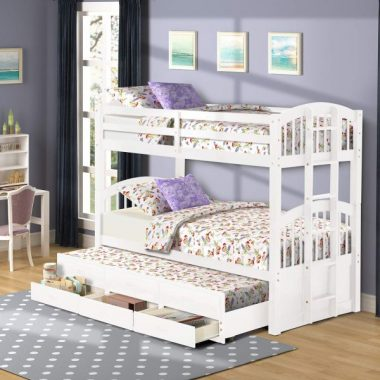 Twin Over Twin Bunk Bed with Trundle for Kids, Wood Bunk Bed Frame with Storage Drawers(White)