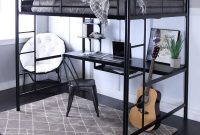 UNIVERSAL LTD Twin LOFT Bed with Desk Junior LOFT Bed with Sturdy Steel Frame and Ladder, Workstation with Bookshelves, Space-Saving Design, White (Black)