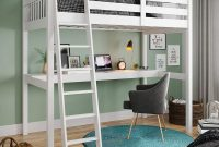Yes4wood Everest High Loft Wood Bed with Desk, Full Size, White, 100% Pine