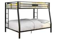 BOWERY HILL Full Over Queen Metal Bunk Bed in Black