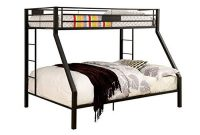 BOWERY HILL Twin Over Queen Metal Bunk Bed in Black