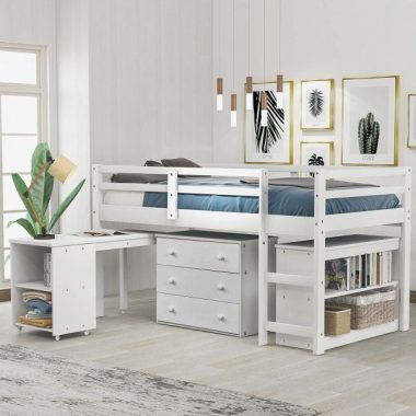 Baysitone Low Study Twin Loft Bed with Cabinet and Rolling Portable Desk for Kids and Teenagers, Solid Wood Twin Loft Bed Frame with Chest of Drawers, Storage Cabinet and Bookcases (White)