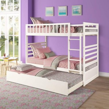 Bunk Beds for Kids, Twin Over Twin Bunk Bed with Trundle, Wooden Twin Bed with Safety Rail Ladder, Teens Bedroom Bed, Guest Room Furniture (Milk White)