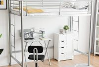 Costzon Loft Twin Bed, Single Bunk Bed with Sturdy Steel Frame, High Sleeper Multipurpose Use Full-Length Guardrails & Two Integrated Ladders Space-Saving Bunkbed (Silver)