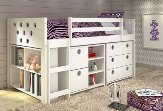 DONCO KIDS Twin Circles Modular Low Loft Bed in White