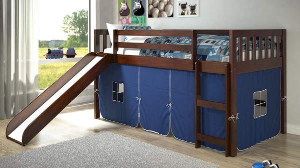 DONCO KIDS Twin Mission Blue Tent Loft Bed with Slide
