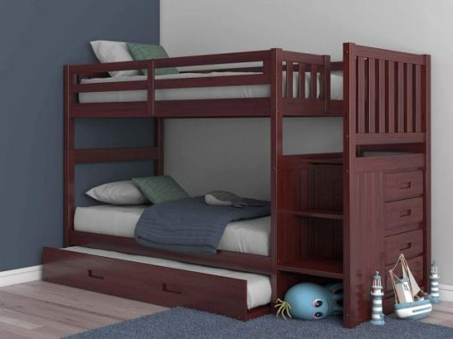 Discovery World Furniture Staircase Bunk Bed with Trundle, Twin over Twin (Merlot)