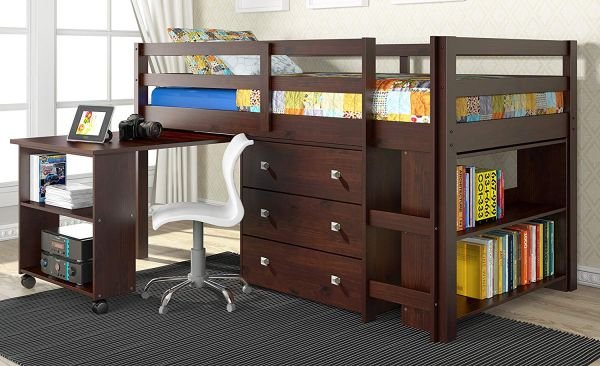 Donco Kids Twin Low Study Loft Bed with Desk, Dark Cappuccino