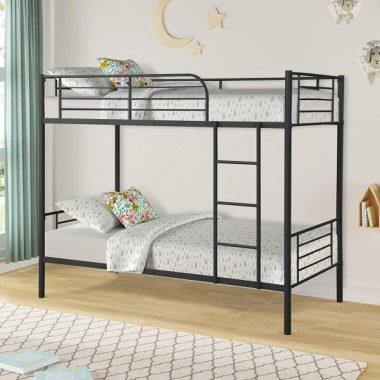 Easy Assembly Twin Over Twin Metal Bunk Bed, Save Space Heavy Duty Twin Bed Frame with Movable Ladder and Safety Guard Rails for Kids Teens Children Adults Supports 400lbs (Black)