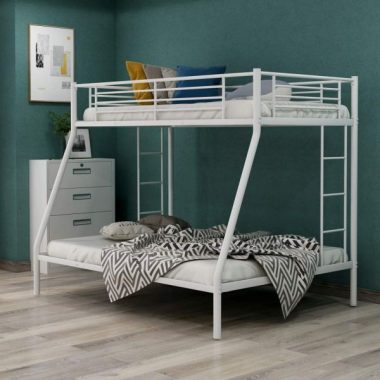 Harper & Bright Designs Metal Twin Over Full Bunk Beds Kids Bunk Beds Twin Over Full Size with Built-in Ladders and Guard Rail,White Bunk Bed