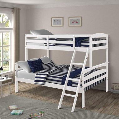 Kids Bunk Beds Twin Over Full Wood Bunk Bed Frame Lofted Adult Split into 2 Beds (White)