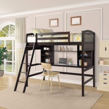 Loft Bed with Desk, Twin Size Wood loft Space Saving bunk for Kids and Teenagers (Espresso)