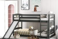 Low bunk Bed, Twin Over Twin bunk Bed with Slide and Ladder for Boy, Girls and Young Teens. (Gray)