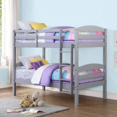 Mainstays Twin Over Twin Wood Bunk Bed (Gray)
