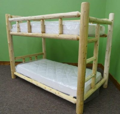 Midwest Log Furniture - Premium Log Bunk Bed - Twin