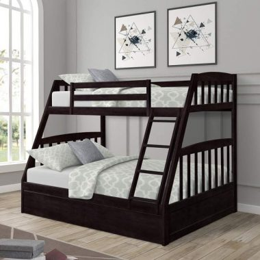 Solid Wood Twin Over Full Bunk Beds with Storage Drawers, Bunk Beds for Kids with Ladder and Guard Rail,Espresso
