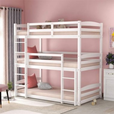 Triple Bunk Beds, Solid Wood Twin Size 3 Low Bunk Bed Frame with Built-in Ladders for Kids Toddlers, (White-Triple)