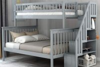 Twin Over Full Bunk Bed with Stairs and Storage Loft Save Space Heavy Duty for Kids Teens Children Adults (Gray)