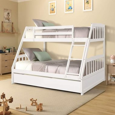 Twin Over Full Bunk Bed with Storage Drawers, WeYoung Solid Wood Bunk Bed Frame with 2 Raised Panel Bed Drawers, Separate to Twin Full Bed (White)