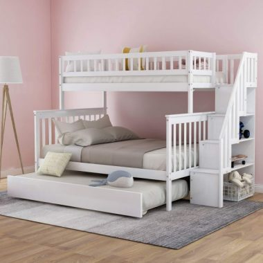 Twin Over Full Bunk Bed with Trundle and Staircase, Baysitone Solid Wood Bunk Bed Frame with 4 Storage for Kids, No Box Spring Needed (White)