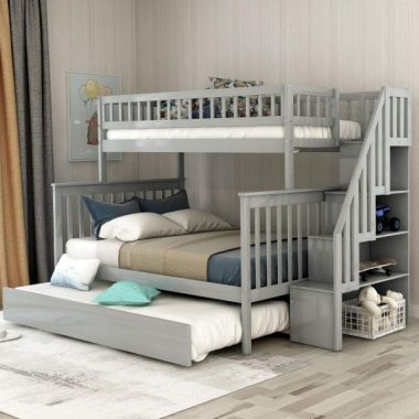 Twin Over Full Bunk Bed with Trundle and Stairs, WeYoung Wood Stairway Twin over Full Bed Frame with Storage and Safety Rails (Gray)