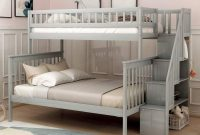 Twin Over Full Stairway Bunk Bed with Storage, Top Unikes Wooded Bunk Bed Frame Separate to Upper Twin Bed and Bottom Full Bed (Grey)