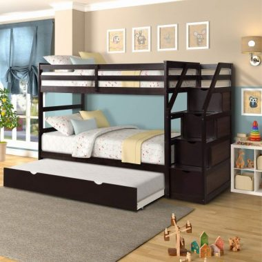 Twin-Over-Twin Bunk Bed for Kids, 3 Twin Bunk Bed with Storage and Trundle, Wood