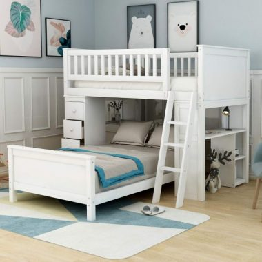 Twin-Over-Twin Bunk Bed for Kids, Loft System & Twin Bed Set with Desks, Drawers and Ladder, Crisp White