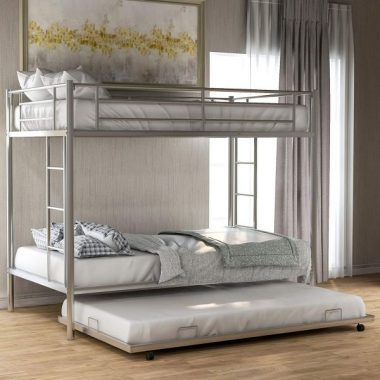 Twin Over Twin Metal Bunk Bed with Trundle, Rockjame Space Saving Design Sleeping Bedroom Bed Frame with 2 Ladders and Safety Rail for Boys, Girls, Kids, Young Teens and Adults (Sliver)