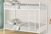 Twin Over Twin Metal Bunk Beds, Rockjame Space Saving Design Sleeping Bedroom Bunk Bed with Ladder and Safety Rail for Boys, Girls, Kids, Young Teens and Adults (White)